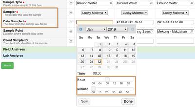Sampling information on Bika / Senaite Open Source LIMS Analysis Request form