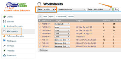 Create Worksheet in Bika and Senaite Open Source LIMS