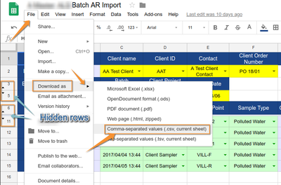 Save CSV of Bika Senaite Batch AR Import in Google Docs