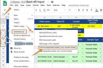 Save CSV of Bika Senaite Batch AR Import in Google Docs