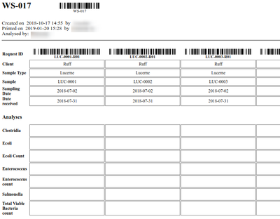 Print a Worksheet for manual results capturing in Bika Open Source LIMS